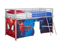 Children's metal framed bunk bed with den underneath