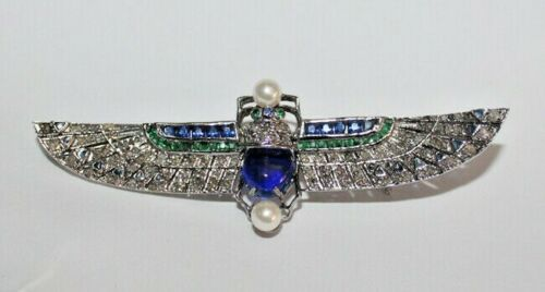 3.10ct ROSE CUT DIAMOND EMERALD SAPPHIRE PEARL VICTORIAN LOOK SILVER BROOCH PIN