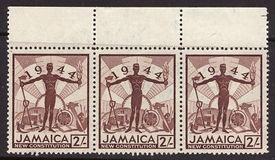 JAMAICA 1945 2s Brown New Constitution SG138 MINT Strip of 3