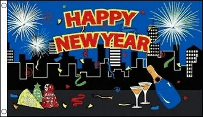 PARTY HAPPY NEW YEAR FLAG 5' x 3' Champagne Fireworks City Skyline Christmas (Party City Flags)