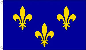 ILE-DE-FRANCE-FLAG-5-x-2-Blue-Fleur-De-Lis-French-Medieval-King-Fleurs-De-Lys