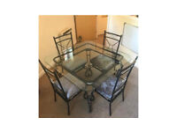Silver Crushed velvet dining table glass top glam