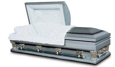 Brand New 18 Gauge Steel Coffin Casket - Platinum Shaded Ebony Finish