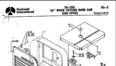 Delta 20 Wood Cutting Bandsaw 28-350 Parts List Pdf