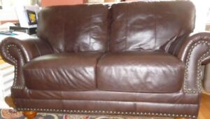 Brown Leather Loveseat / Sofa / Couch
