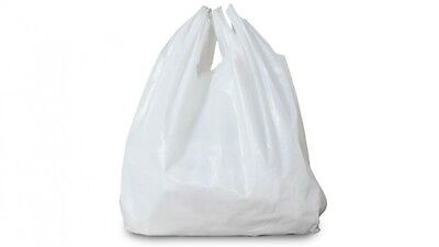 1000 x Quality New WHITE Plastic Vest Carrier Bags 10