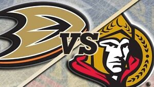 Billets Ottawa Senateurs Senators vs Anaheim Ducks Niveau 100