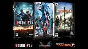 The Division 2, Devil May Cry 2, and Resident Evil 2 pc games