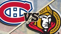CANADIENS vs SENS - CENTER ICE TICKETS SUNDAY OCTOBER 11th