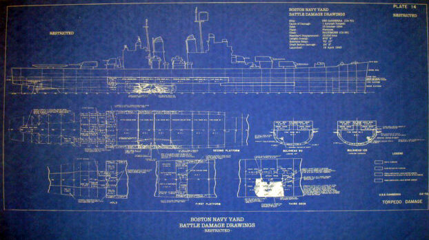 WW2 War Damage Boston Navy Yard Repair Blueprint USS Canberra CA70 16x28 (148)