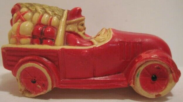 Old Rare 1920s Celluloid Christmas Santa in Car Carrying Tree & Presents