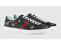 Gucci black leather bee and stars ace low top trainers, Size 6