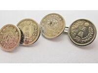 Very Rare Antique Japanese 5 SEN Silver Coin Cufflinks