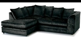 BRAND NEW BLACK CRUSH VELVET CORNER SOFA ONLY £330💢💯💥💫👌