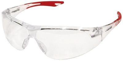 Elvex Avion Safety Glasses With Red Temple Tip And Clear Lens