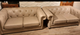 2x chesterfield leather sofas by DFS 2-3 seater