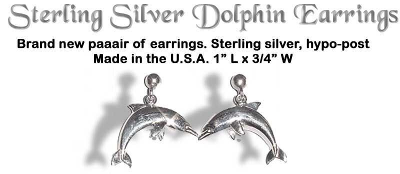 Sterling Silver Dolphin Earrings Made in USA