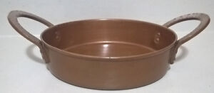 Antique Solid Copper Pan Bowl with Two Copper Handles