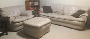 3 piece tan leather. Sofa, chair and ottoman ( footstool ).