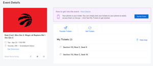 Toronto Raptors Game 5 Playoff Tickets row C Game 5