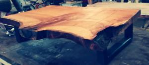 Table de salon basse chene rouge naturel