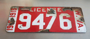 antique porcelain license plate 1915-1916