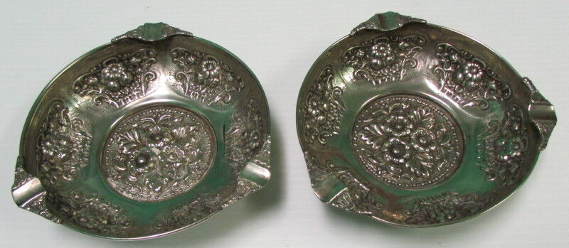 2 Vintage Silver Plated Cigar Footed Ashtrays - European