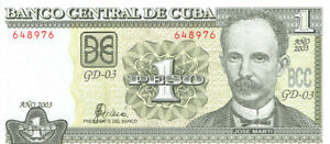 Billet d'un peso national cubain en xirculation.