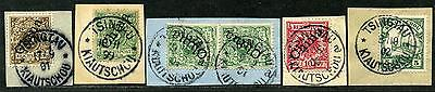 Kiautschou V 1 IIa/ V 3 II + Mi 6   5 x Briefstücke  je Tsingtau   circa 100,-