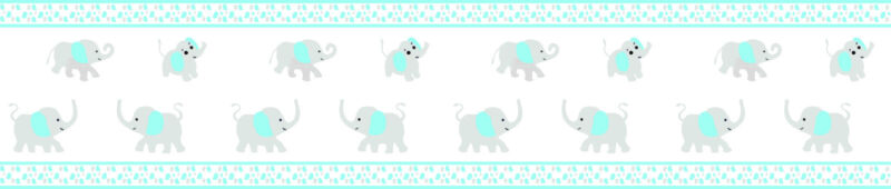 Blizzard Blue Grey Elephant Wall Border By  GEENNY