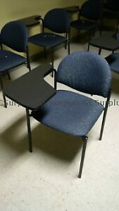 Classroom chairs with arm tables attached
