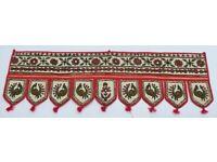 Vintage folk art. Embroidered cloth with shisha mirrors. Curtain pelmet. Wall art.