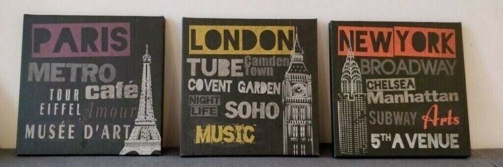 Ikea Pjatteryd London Paris New York Set Of 3 Canvas 10x10