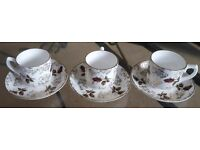 Set of 3 cups and matching saucers