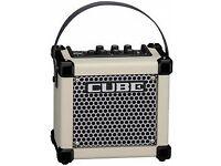 White Roland micro cube amp, guitars ukulele