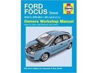 Haynes owners workshop manual 4807 for Ford Focus diesel 2005-2009
