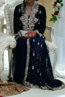 Asian Wedding Dress Beautiful Elegant Latest Designer Navy Blue With Silver Embroidery