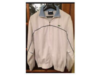 Men's 'LACOSTE' Tracksuit Zipper Top And Trousers White With Blue Size Medium