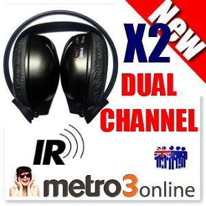 2 x Sets Infrared Wireless IR Headphones Dual Channel 2 Channel Car DVD