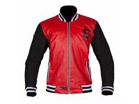 New Mens Leather Motorcycle Jacket - Spada Campus - Red - Sizes M-XXL