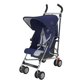 MACLAREN Triumph Stroller in Blue and Silver USED IN GOOD CONDITION