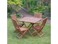 GARDEN TABLE HARDWOOD WOULD SUIT 4 CHAIRS. BRAND NEW IN BOX. LOCAL DELIVERY.