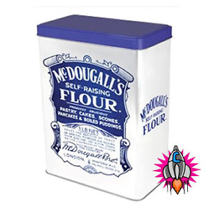 NEW VINTAGE RETRO MCDOUGALLS MEDIUM FLOUR CONTAINER TIN KITCHEN ROBERT OPIE