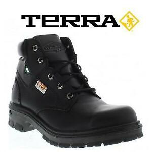 NEW TERRA SPANNER BOOT MEN'S 7.5 207065266 BLACK LEATHER STEEL TOE AND PLATE SHOES