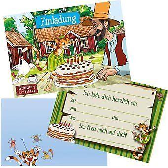 PETTERSSON & FINDUS Kindergeburtstag Party Einladungen Einladungskarten Deko Set