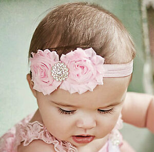Pink-Shabby-double-Headband-flower-bow-Rhinestone-baby-toddler-girl-0-3-6-9-12