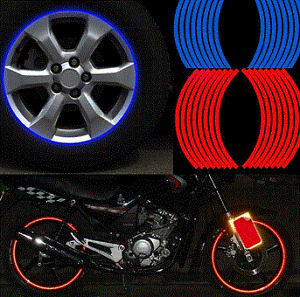 "Brand New REFLECTIVE Rim Wheel Decal Sticker Red 16"" 17"" 18"""