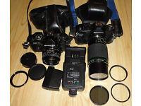 Job Lot Pentax K Mount SLR Cameras and Lenses Miranda MS-1 Chinon CE-4 Flash Units + Filters