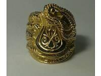 Mens saddle ring 9ct gold (28g)