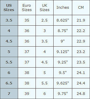 Size  Youth Shoes Dimensions